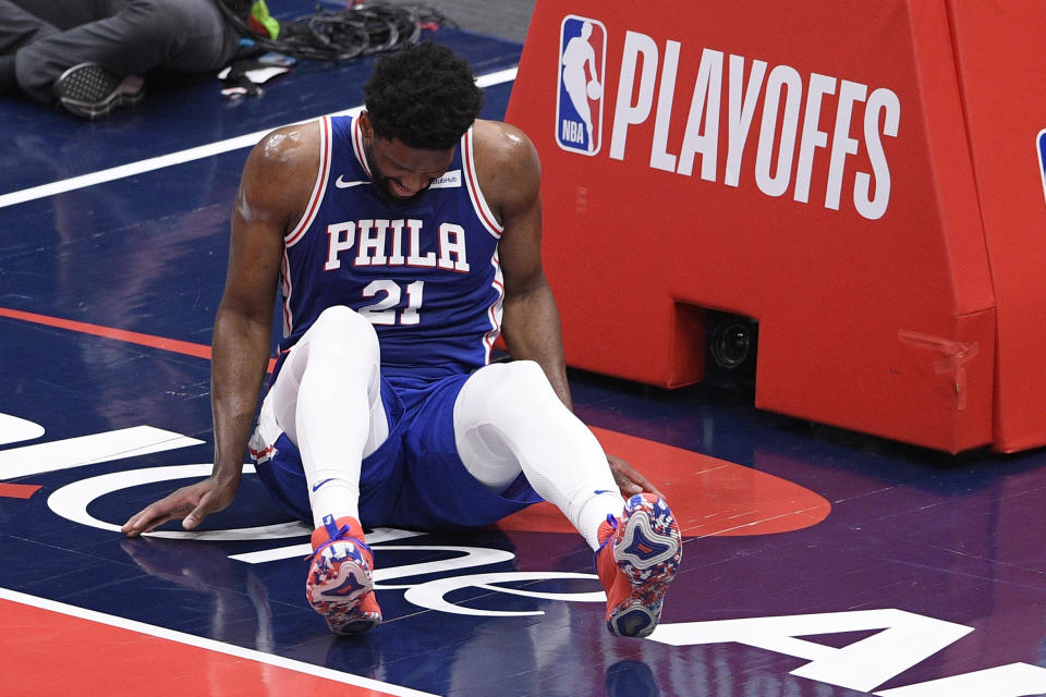 Philadelphia 76ers center Joel Embiid (21) is expected to miss Game 5. (AP Photo/Nick Wass)