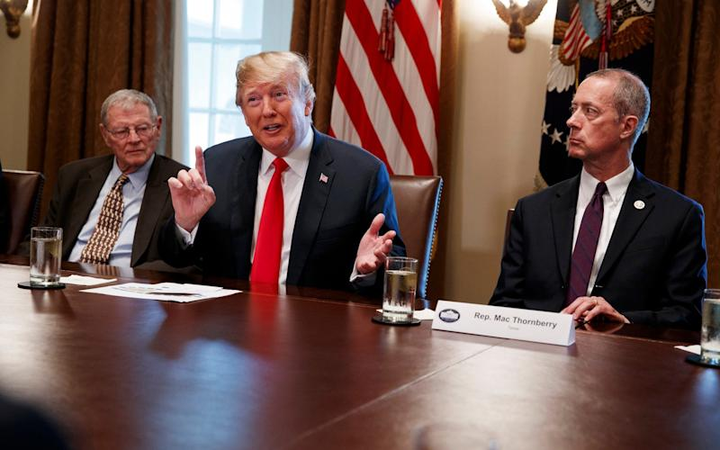 Donald Trump, hosting a White House discussion on Wednesday morning - AP