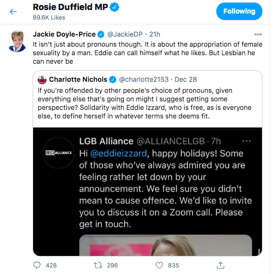 Rosie Duffield likes a tweet from Tory MP Jackie Doyle Price misgendering gender-fluid comedian Eddie Izzard.