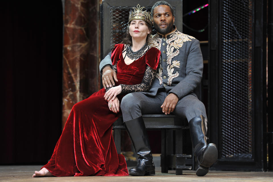 LONDON, ENGLAND - JUNE 22: Ray Fearon as Macbeth and Tara Fitzgerald as Lady Macbeth in William Shakespeare's Macbeth directed by Iqban Khan at The Globe Theatre on June 22, 2016 in London, England. (Photo by Robbie Jack/Corbis via Getty Images)