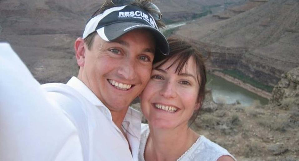 Stephen Jones, pictured with his wife Fiona, in a photo from 2009. The father-of-three was hit by a boat while diving off the coast of Spain.