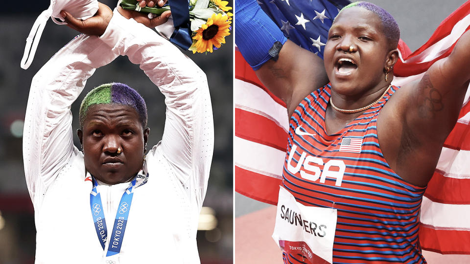 Raven Saunders, pictured here making an 'X' gesture after winning silver at the Olympics.