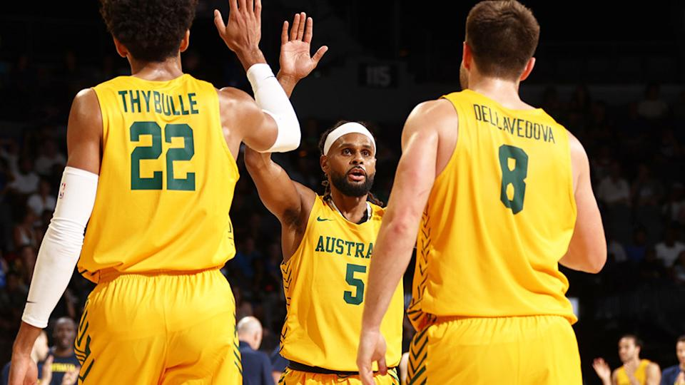 Pictured here, Boomers players celebrate during their win over Team USA.