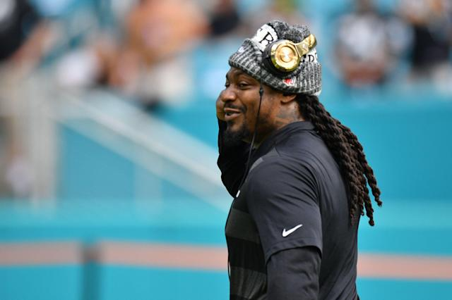 Does this sound familiar? Marshawn Lynch is retiring ... again. (Photo by Mark Brown/Getty Images)