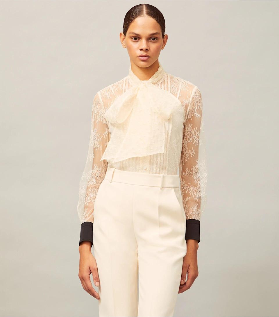 <p><span>Tory Burch Chantilly Lace Bow Blouse</span> ($180 (with code EXTRA), originally $398)</p>