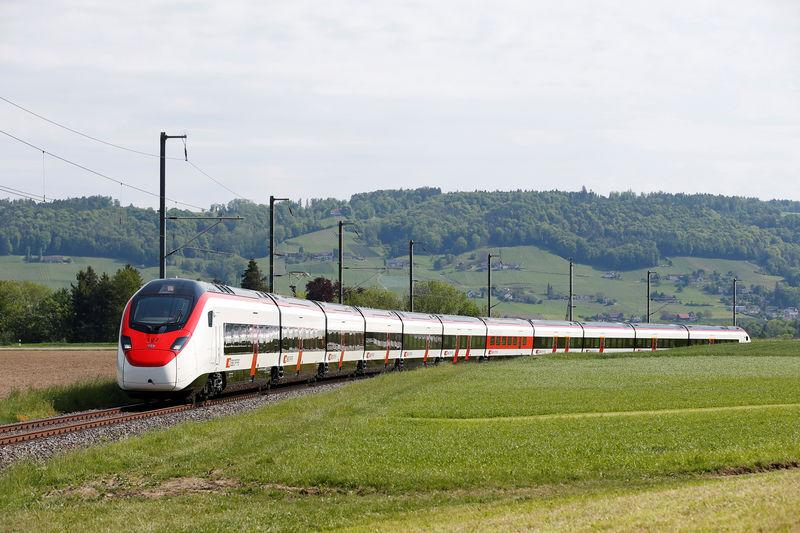 A new Stadler Rail Giruno high-speed train is seen in Bussnang