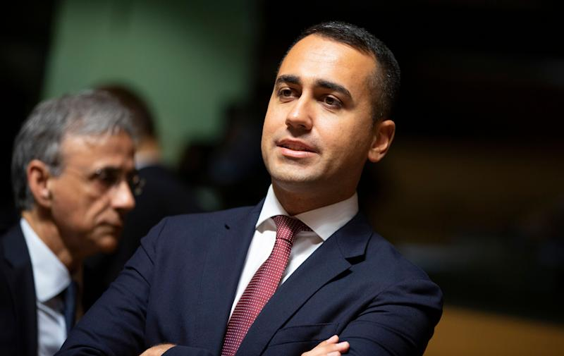 Italian Foreign Minister Luigi Di Maio, center, waits for the start of a meeting of EU foreign ministers at the European Convention Center in Luxembourg, Monday, Oct. 14, 2019. Some European Union nations are looking to extend moves against Turkey by getting more nations to ban arms exports to Ankara to protest the offensive in neighboring Syria. (AP Photo/Virginia Mayo) (Photo: ASSOCIATED PRESS)