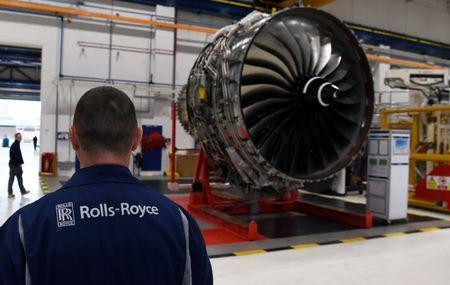 XWB engines designed specifically for the Airbus A350 family of aircraft are seen on the assembly line at the Rolls Royce factory in Derby