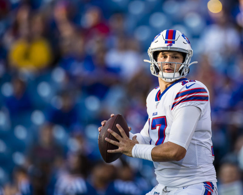 ORCHARD PARK, NY - AUGUST 08: Josh Allen #17 of the Buffalo Bills drops back to pass during the first quarter of a preseason game against the Indianapolis Colts at New Era Field on August 8, 2019 in Orchard Park, New York. Buffalo defeats Indianapolis 24 -16. (Photo by Brett Carlsen/Getty Images)