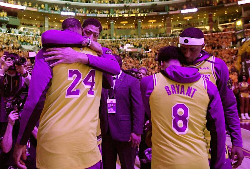 Anthony Davis, LeBron James, Quinn Cook and Kentavious Caldwell-Pope | Harry How/Getty Images