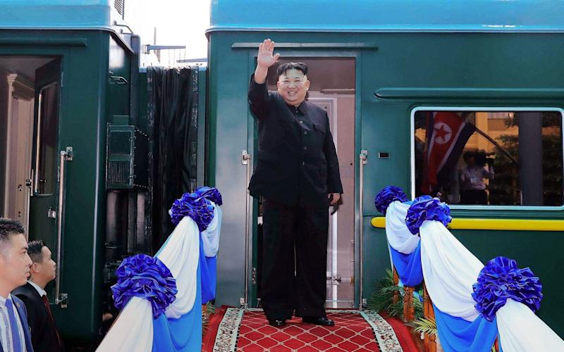 Kim Jong Un before boarding his train at the Dong Dang railway station in Vietnam last year - Getty Images