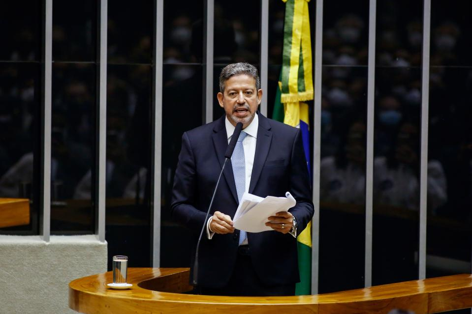 Brazilian Deputy Arthur Lira speaks during a plenary session to elect the president of Brazil's Lower House in Brasilia on February 1, 2021. - Brazil's Congress on Monday elected Rodrigo Pacheco and Arthur Lira as Senate and Lower House's speakers respectively, both allies of far-right President Jair Bolsonaro. (Photo by Sergio Lima / AFP) (Photo by SERGIO LIMA/AFP via Getty Images)