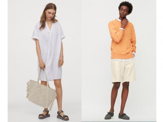Stay cool in breathable fabrics such as these linen outfits (left, H&M, right, Uniqlo)