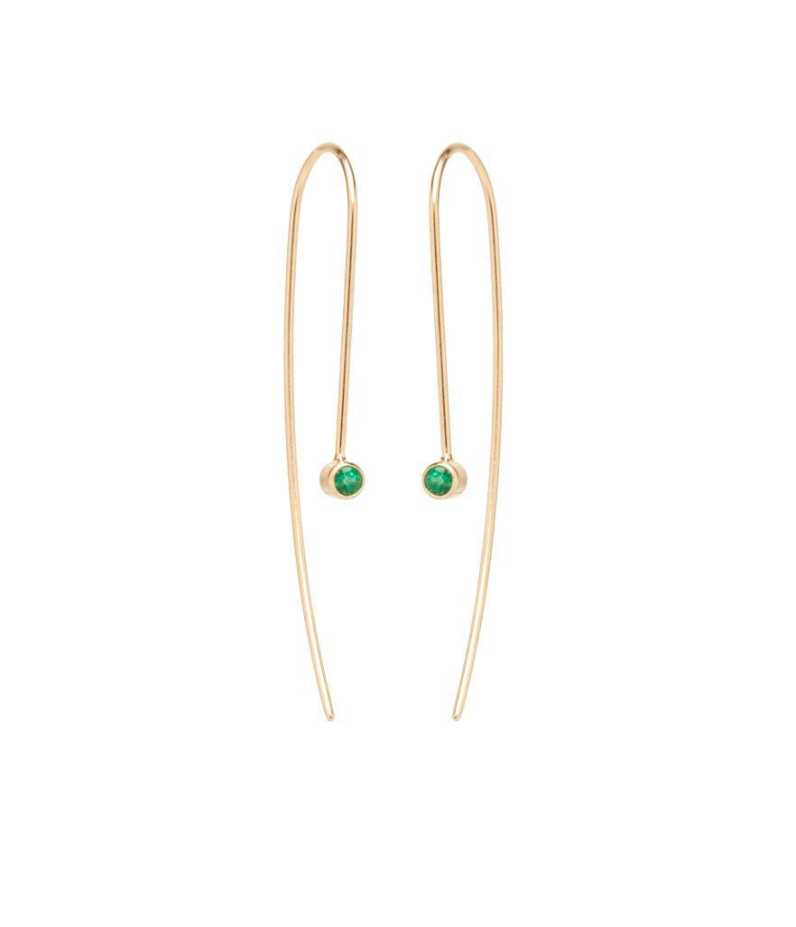 """<p>Emerald wire earrings in 14-karat yellow gold with 2.5mm emeralds, $395, <a rel=""""nofollow noopener"""" href=""""https://zoechicco.com/products/14k-emerald-wire-earrings"""" target=""""_blank"""" data-ylk=""""slk:zoechicco.com"""" class=""""link rapid-noclick-resp"""">zoechicco.com</a> </p>"""