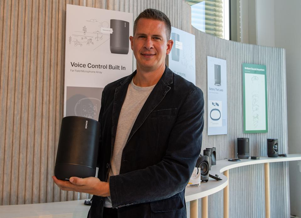 """04 September 2019, Berlin: The head of loudspeaker specialist Sonos, Patrick Spencer, will present the new Move model at the IFA technology trade fair. It is the company's first device that can also be used outside your own four walls, because it supports Bluetooth wireless connection directly to the smartphone. (to dpa """"Sonos becomes mobile with Bluetooth speaker"""") Photo: Andrej Sokolow/dpa (Photo by Andrej Sokolow/picture alliance via Getty Images)"""