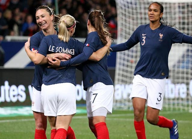 Eugenie Le Sommer (second from left) and Wendie Renard (right) could pose problems for the U.S. in a potential World Cup quarterfinal. (Getty)