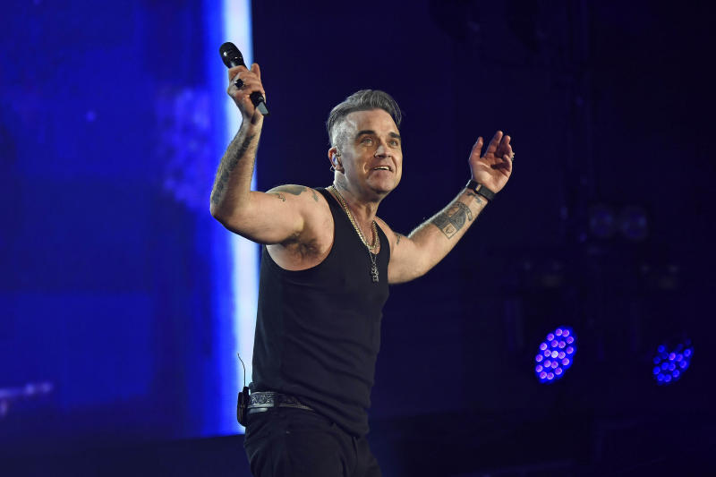 Photo by: KGC-138/STAR MAX/IPx 2019 7/14/19 Robbie Williams performs at British Summer Time 2019, Hyde Park in London.