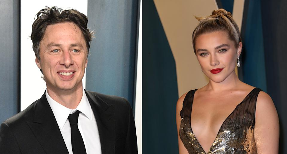 Florence Pugh posted a special message for Zach Braff. (Photo by Gregg DeGuire/FilmMagic. Toni Anne Barson/WireImage)