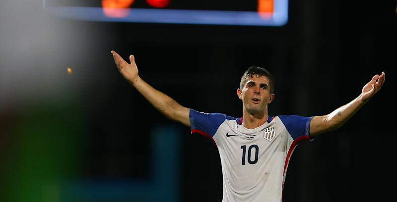 Christian Pulisic of the United States men's national team reacts to the referee's call during the FIFA World Cup Qualifier match between Trinidad and Tobago at the Ato Boldon Stadium on Oct. 10.