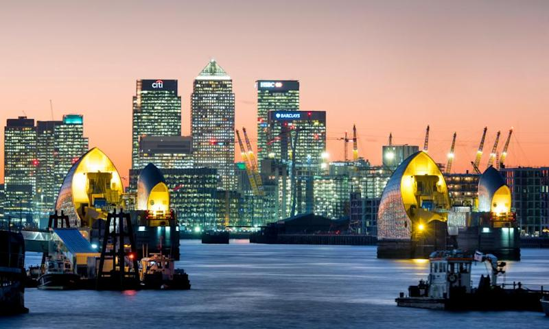 Canary Wharf with Thames Barrier, London