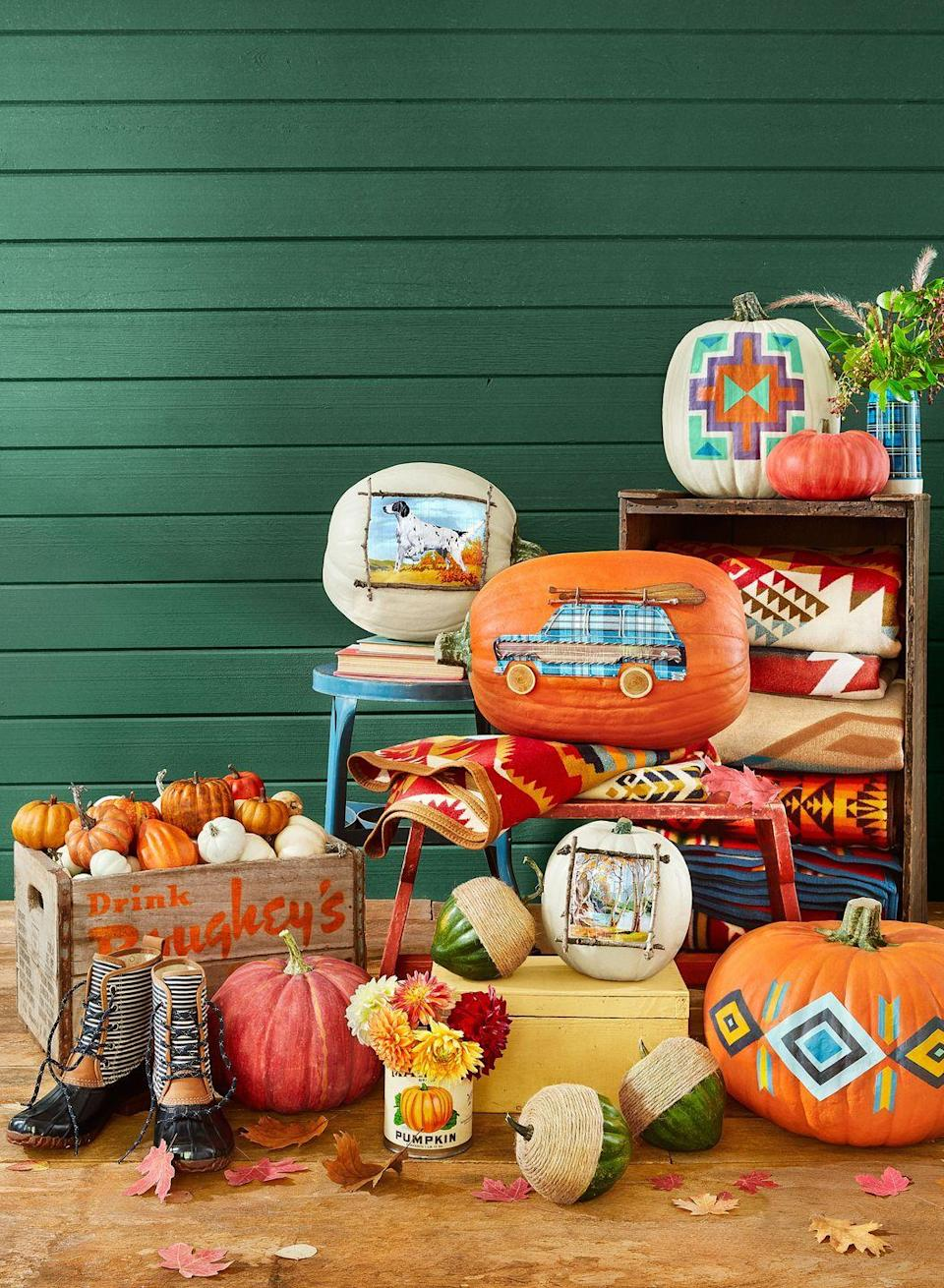 <p>Just because it's Halloween doesn't mean you have to treat your yard like it's the set of a horror movie! Stay original <em>and</em> keep things beautiful with Southwestern-inspired decorating ideas, which will keep your home looking pretty well into the fall season. Try filling a distressed crate with pumpkins (retro-inspired coolers work too!). You can also add a bouquet of fresh flowers to a plaid vintage Thermos, and paint pumpkins with Southwestern-inspired designs. </p>