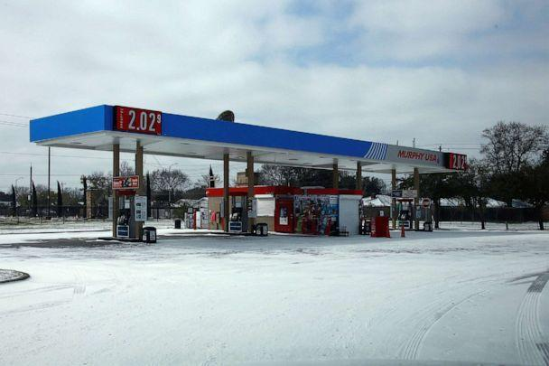 PHOTO: A gas station is closed due to power outage in Houston on Feb. 15, 2021. Up to 2.5 million customers were without power in Texas Monday morning as the state's power generation capacity is impacted by an ongoing winter storm brought by Arctic blast. (Chengyue Lao/Xinhua News Agency/Getty Images)