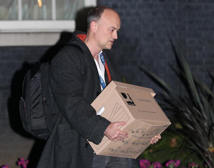 Prime Minister Boris Johnson's top aide Dominic Cummings leaves 10 Downing Street, London, with a box, following reports that he is set to leave his position by the end of the year. (Photo by Yui Mok/PA Images via Getty Images)