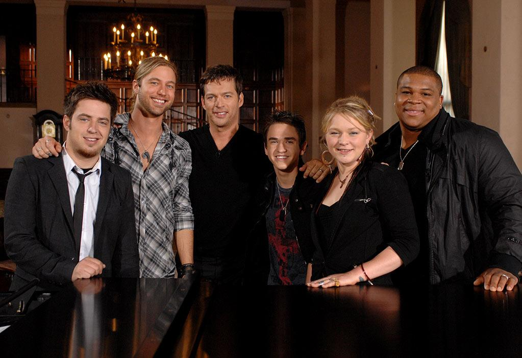 "Harry Connick Jr. mentors the final five Season 9 contestants on <a href=""/american-idol/show/34934"">""American Idol.""</a>"