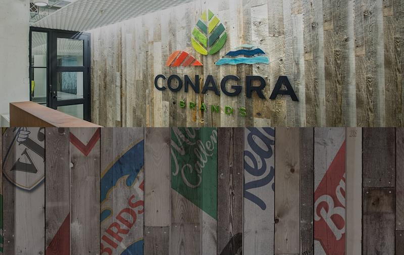 Lobby with Conagra Brands logo, along with logos of various food brands.