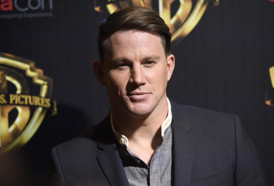 Channing Tatum arrives at the Warner Bros. presentation at CinemaCon 2018, the official convention of the National Association of Theatre Owners, at Caesars Palace on Tuesday, April 24, 2018, in Las Vegas. (Photo by Chris Pizzello/Invision/AP)