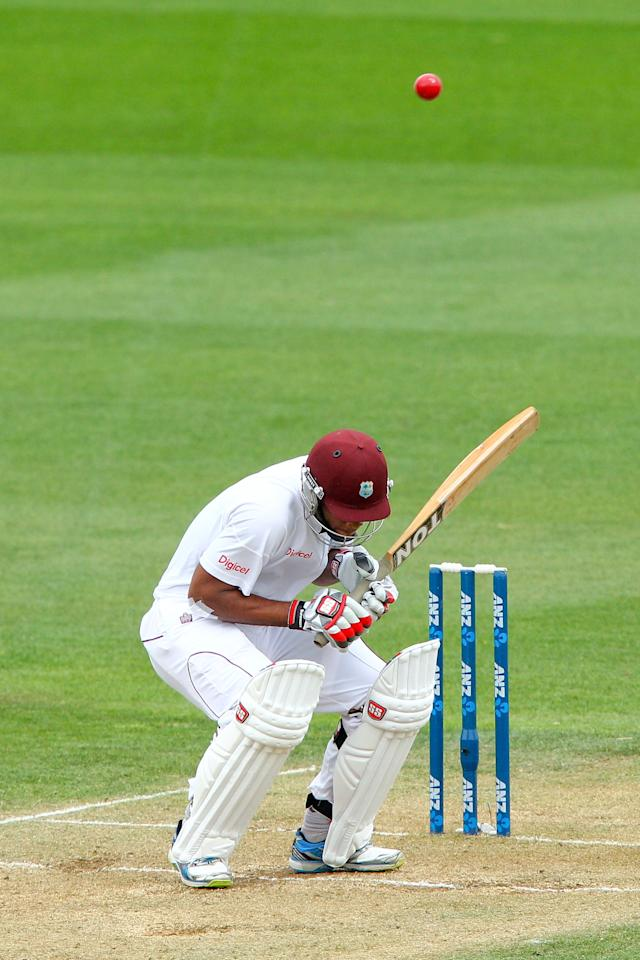 WELLINGTON, NEW ZEALAND - DECEMBER 13:  Kieran Powell of the West Indies ducks under a bouncer during day three of the Second Test match between New Zealand and the West Indies at Basin Reserve on December 13, 2013 in Wellington, New Zealand.  (Photo by Hagen Hopkins/Getty Images)