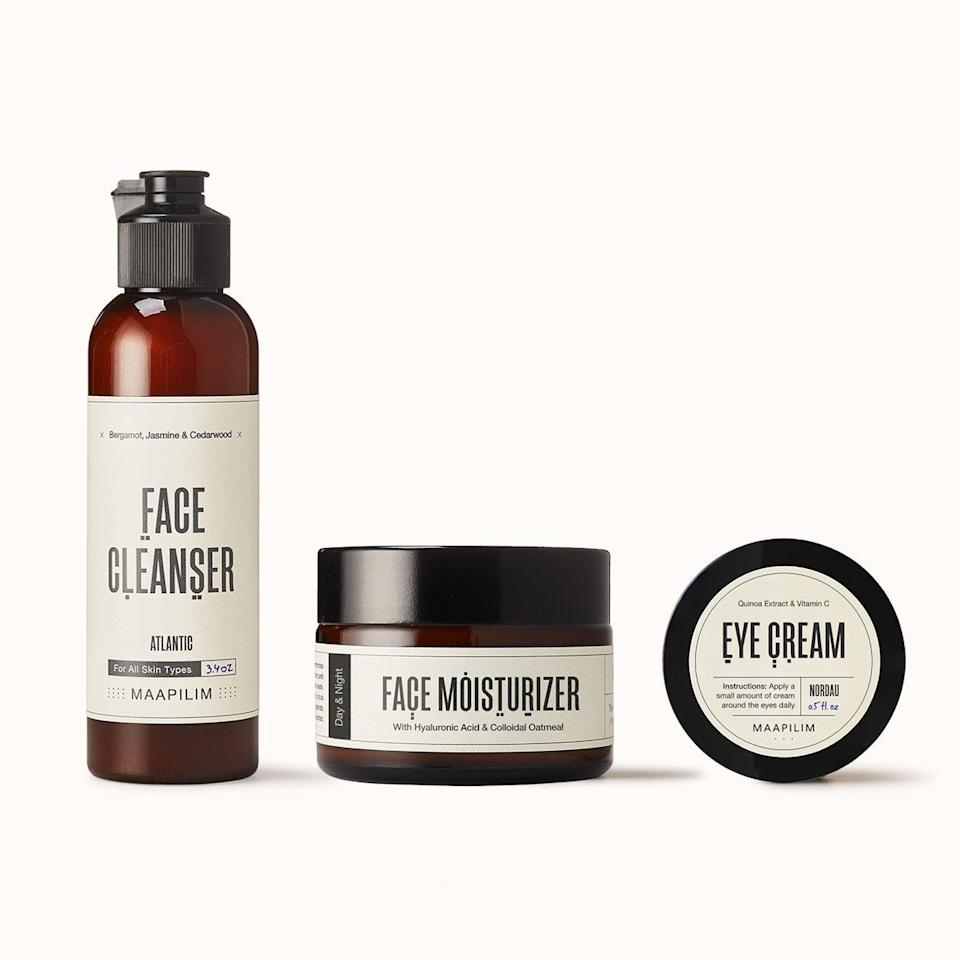"<p>Maapilim's Good Face Day Kit includes three skin-care products for the dad who's open to starting a straightforward and efficient routine for skin that looks and feels healthier. There's a balancing <a href=""https://www.allure.com/gallery/best-facial-cleanser?mbid=synd_yahoo_rss"" rel=""nofollow noopener"" target=""_blank"" data-ylk=""slk:face cleanser"" class=""link rapid-noclick-resp"">face cleanser</a>, face moisturizer, and <a href=""https://www.allure.com/gallery/the-12-best-eye-creams?mbid=synd_yahoo_rss"" rel=""nofollow noopener"" target=""_blank"" data-ylk=""slk:eye cream"" class=""link rapid-noclick-resp"">eye cream</a> — all the essentials. The facial cleanser contains <a href=""https://www.allure.com/story/witch-hazel-skin-care-uses?mbid=synd_yahoo_rss"" rel=""nofollow noopener"" target=""_blank"" data-ylk=""slk:witch hazel"" class=""link rapid-noclick-resp"">witch hazel</a> to remove excess oil and dirt, while aloe vera keeps skin feeling soft and moisturized. The face moisturizer is made with hydrating <a href=""https://www.allure.com/story/what-is-hyaluronic-acid-skin-care?mbid=synd_yahoo_rss"" rel=""nofollow noopener"" target=""_blank"" data-ylk=""slk:hyaluronic acid"" class=""link rapid-noclick-resp"">hyaluronic acid</a> and <a href=""https://www.allure.com/story/vitamin-c-benefits-for-skin?mbid=synd_yahoo_rss"" rel=""nofollow noopener"" target=""_blank"" data-ylk=""slk:vitamin C"" class=""link rapid-noclick-resp"">vitamin C</a>, which is essential for collagen production and brightening skin. And finally, the eye cream contains colloidal oats to soothe puffy eyes and vitamin C to reduce the appearance of dark circles.</p> <p><strong>$90</strong> (<a href=""https://maapilim.com/products/good-face-day-kit"" rel=""nofollow noopener"" target=""_blank"" data-ylk=""slk:Shop Now"" class=""link rapid-noclick-resp"">Shop Now</a>)</p>"
