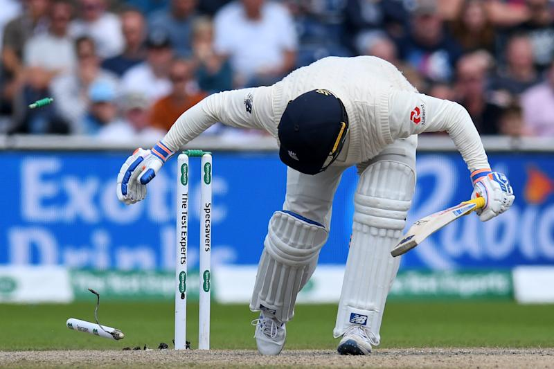 England's Jason Roy is bowled by Australia's Pat Cummins for 31 during play on the fifth day of the fourth Ashes cricket Test match between England and Australia at Old Trafford in Manchester, north-west England on September 8, 2019. (Photo by Oli SCARFF / AFP) / RESTRICTED TO EDITORIAL USE. NO ASSOCIATION WITH DIRECT COMPETITOR OF SPONSOR, PARTNER, OR SUPPLIER OF THE ECB (Photo credit should read OLI SCARFF/AFP/Getty Images)