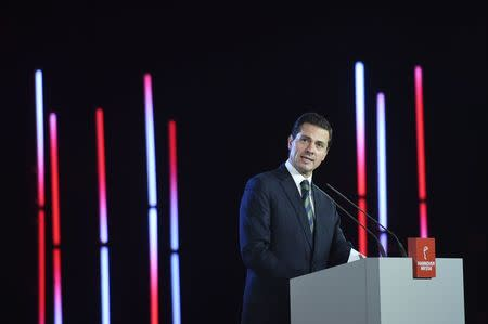 Mexican President Pena Nieto delivers a speech during the opening ceremony of the Hannover Messe trade fair in Hanover