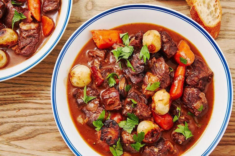 """<p>If you do it right, homemade beef bourguignon is a labour of love. It's certainly not a quick weeknight dinner. BUT, that doesn't mean it's hard.</p><p> the <a href=""""https://www.delish.com/uk/cooking/recipes/a34569497/beef-bourguignon-recipe/"""" rel=""""nofollow noopener"""" target=""""_blank"""" data-ylk=""""slk:Beef Bourguignon"""" class=""""link rapid-noclick-resp"""">Beef Bourguignon</a> recipe.</p>"""