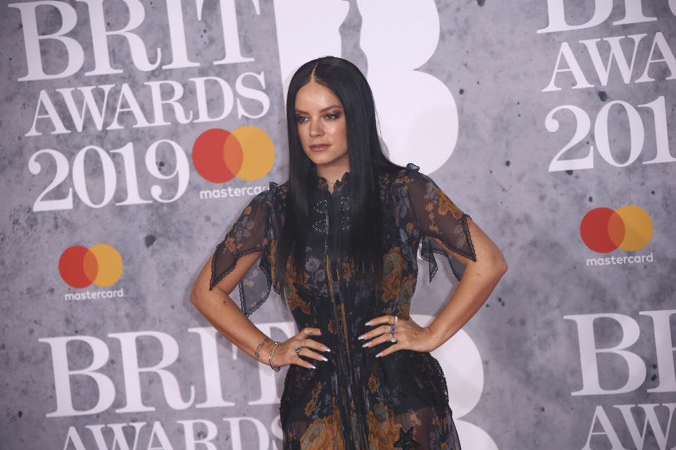 Singer Lily Allen poses for photographers upon arrival at the Brit Awards in London, Wednesday, Feb. 20, 2019. (Photo by Joel C Ryan/Invision/AP)