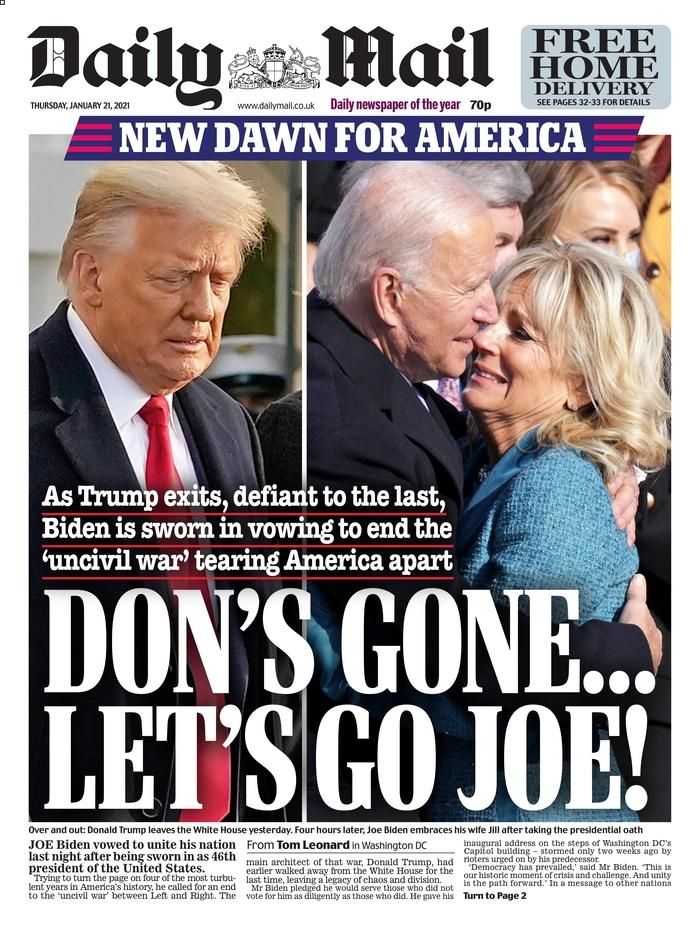 January 21, 2021 front page of the Daily Mail