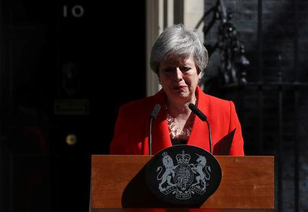 British Prime Minister Theresa May reacts as she delivers a statement in London, Britain, May 24, 2019. REUTERS/Simon Dawson