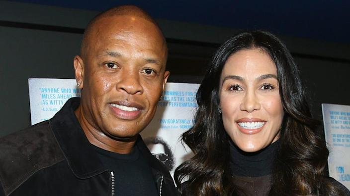 """Andre """"Dr. Dre"""" Young and wife Nicole Young attend the 2016 premiere of Sony Pictures Classics' """"Miles Ahead"""" in Beverly Hills. (Photo by Mark Davis/Getty Images)"""