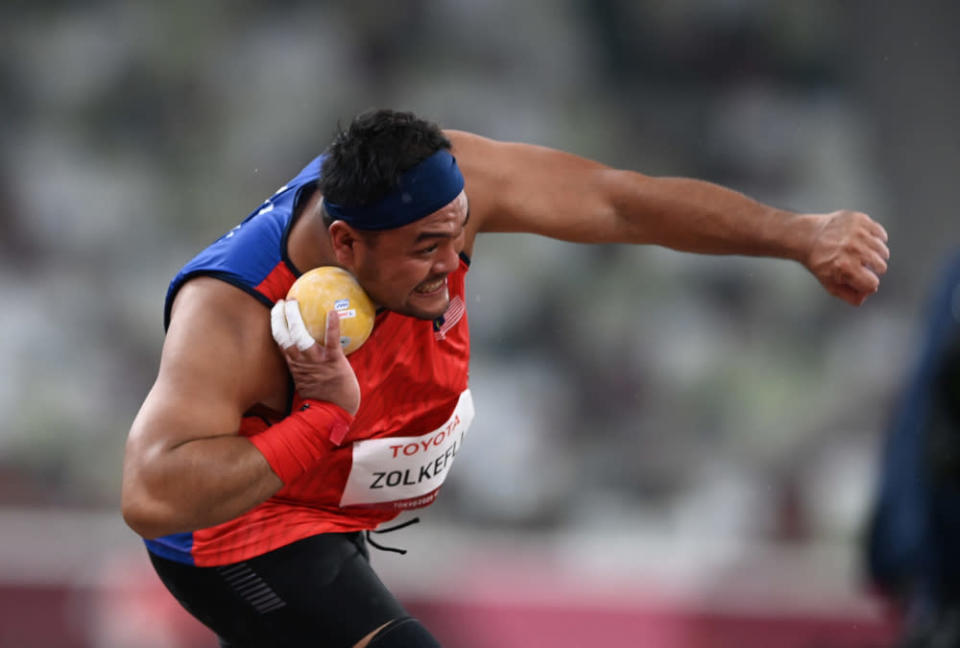 National paralympic shot putter Muhammad Ziyad Zolkefli competes in the F20 shot put event (learning difficulties category) at the Tokyo 2020 Paralympic Games at the Olympic Stadium, August 31, 2021. — Bernama pic