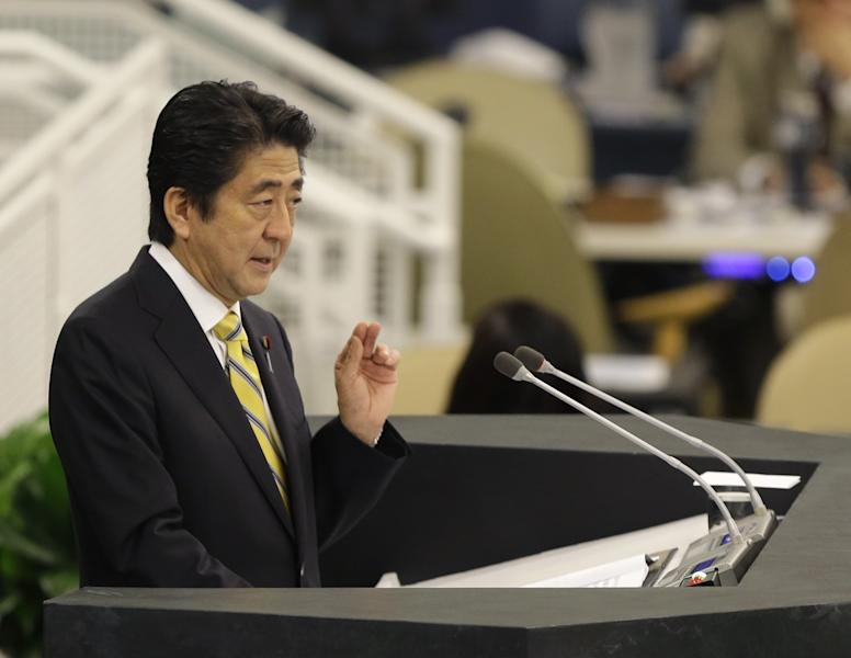 Shinzo Abe, Prime Minister of Japan, speaks during the 68th session of the General Assembly at United Nations headquarters, Thursday, Sept. 26, 2013. (AP Photo/Seth Wenig)