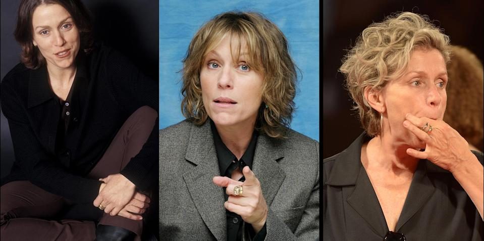 Frances McDormand wearing a gold band, as well as another ring, on her middle finger in 1994, 2003, and 2014. (Photos: Getty Images)