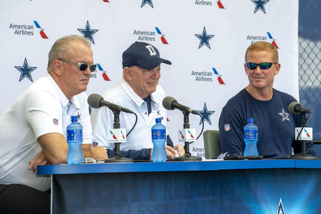 Jerry Jones (middle) and Stephen Jones (left) made the Cowboys' policy on the national anthem clear this week. (AP)