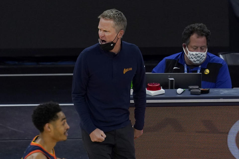 Golden State Warriors head coach Steve Kerr reacts to an official's call during the first half of his team's NBA basketball game against the Oklahoma City Thunder in San Francisco, Thursday, May 6, 2021. (AP Photo/Jeff Chiu)
