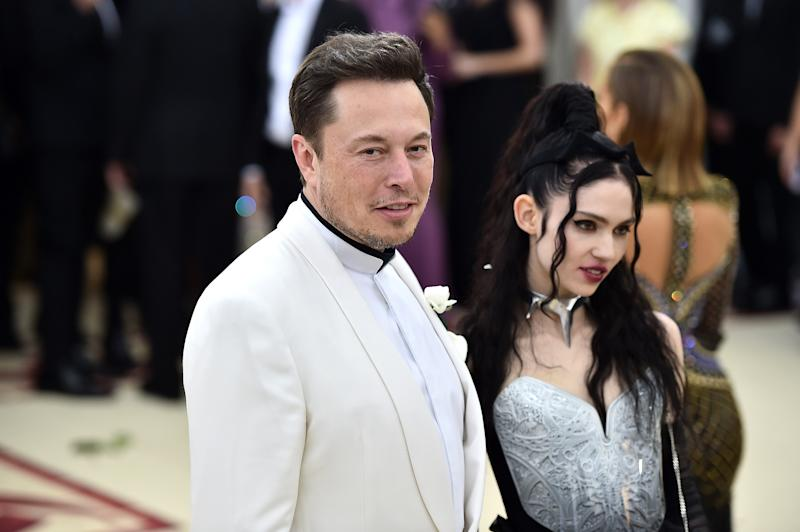 Elon Musk and Grimes attend the Heavenly Bodies: Fashion & The Catholic Imagination Costume Institute Gala at The Metropolitan Museum of Art on May 7, 2018 in New York City.
