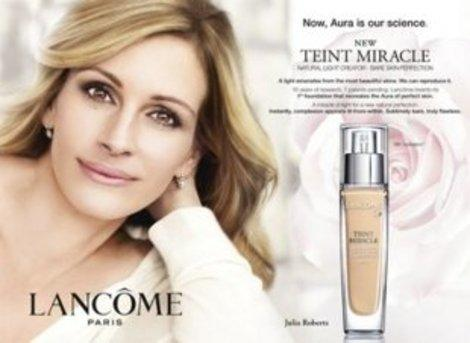 Julia Roberts' Lancome ad was too photoshopped for UK standards.