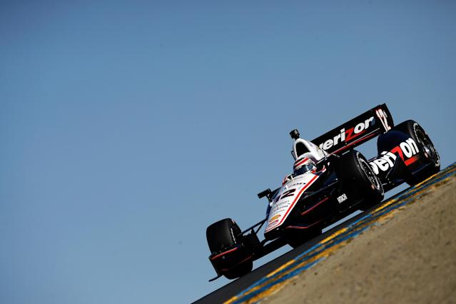 SONOMA, CA - AUGUST 23: Will Power of Australia drives the #12 Verizon Team Penske Chevrolet during qualifying for the Verizon IndyCar Series GoPro Grand Prix of Sonoma at Sonoma Raceway on August 23, 2014 in Sonoma, California. Ezra Shaw/Getty Images/AFP (AFP Photo/EZRA SHAW)