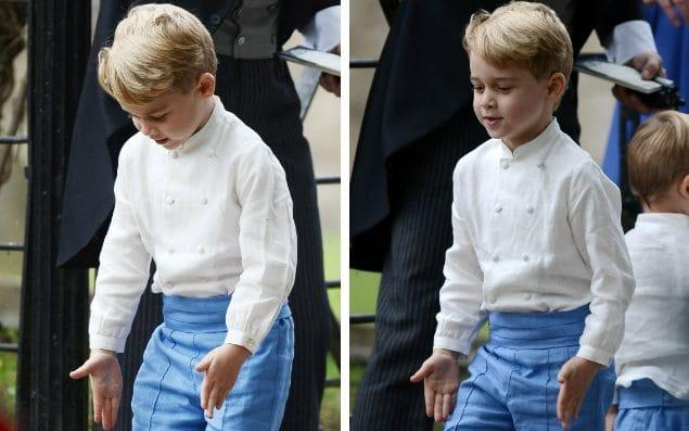 With his arms by his side, Prince George marched around the grounds of the church in Letheringsett, Norfolk - Mark Stewart Photography