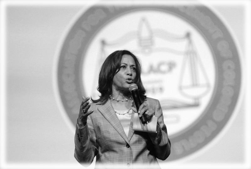 Senator Kamala Harris addresses the audience during the Presidential candidate forum at the annual convention of the National Association for the Advancement of Colored People (NAACP), in Detroit, Michigan on July 24, 2019. (Photo: Rebecca Cook/Reuters; digitally enhanced by Yahoo News)