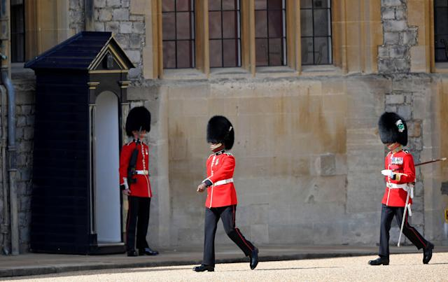 Members of the Household Division arrive in preparation for the Trooping ceremony. (Getty Images)